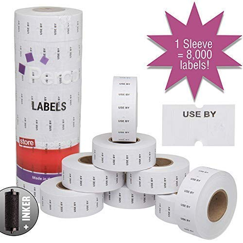 "Perco""USE by"" 1 Line Labels - 1 Sleeve, 8,000 USE by Labels for Perco 1 Line Date Guns - Bonus Ink Roll"