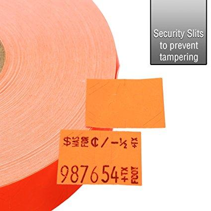 Fluorescent Red Pricing Labels for Monarch 1136 Price Gun – 8 Rolls, 14,000 Pricemarking Labels – With Bonus Ink Roll Included