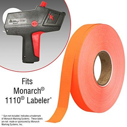 Flou. Red Pricing Labels for Monarch 1110 Price Gun - 6 Sleeves, 102,000 Pricemarking Labels - With Bonus Ink Rolls