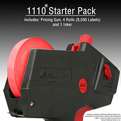 Monarch 1110 Price Gun With Labels Starter Kit: Includes Price Gun, 8,500 Fluorescent Red Pricing Labels, Label Scraper and Inker