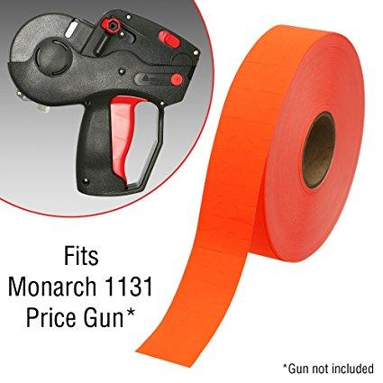 Price Marking Labels for Monarch 1131 Pricing Gun Sticker Adhesive - Free Ink Roll - Made in the USA - 8 Sleeves (160,000 labels), Fluorescent Red
