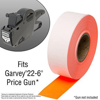 2212 Flou. Red Pricing Labels for Garvey 22-6 / 22-7 / 22-8 Price Gun – 9 Rolls, 11,000 Pricemarking Labels – With Bonus Ink Roll