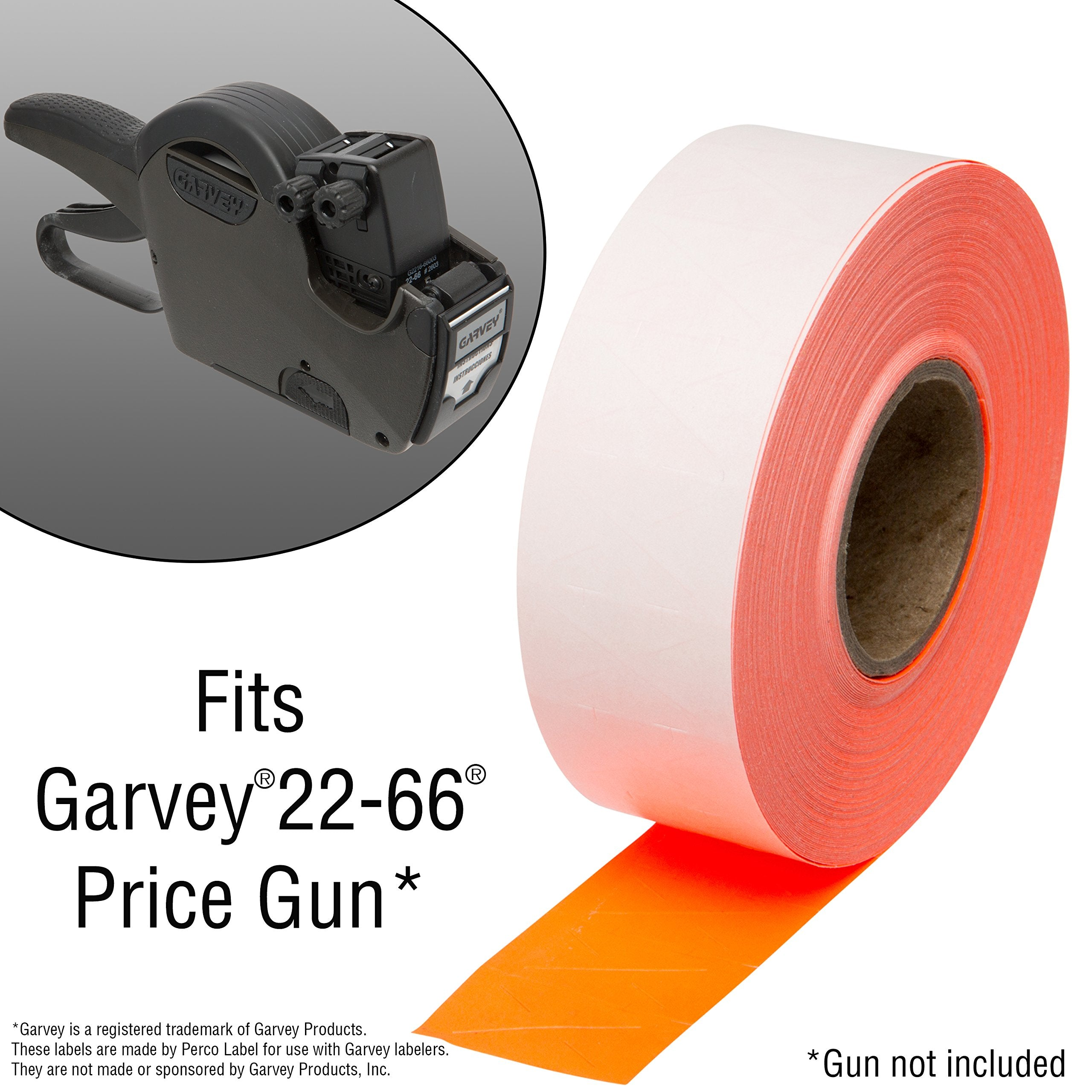 2216 Pricing Labels for Garvey 22-66/22-77/22-88 Two Line Pricing Gun 22-66, 10 Sleeve - 90 Rolls -red.