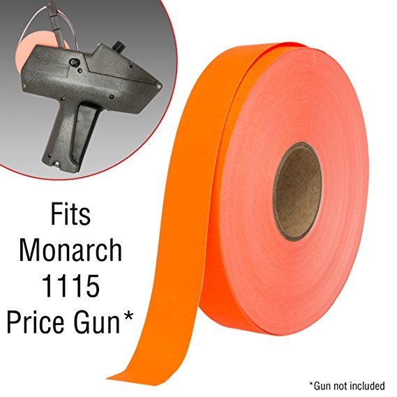 Flou. Red Pricing Labels for Monarch 1115 Price Gun - 10 Rolls, 15,000 Pricemarking Labels – With Bonus Ink Roll