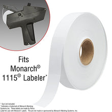 White labels for Monarch 1115 price gun 4 sleeves, 60,000 pricemarking labels with bonus ink roll