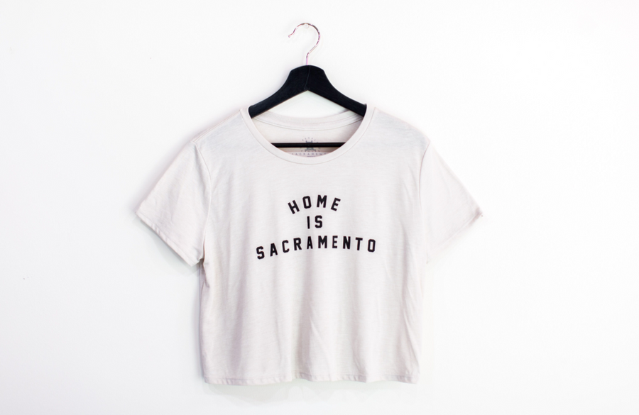 TPOS Flowy Crop Top T-Shirt Heather Dust Home is Sacramento