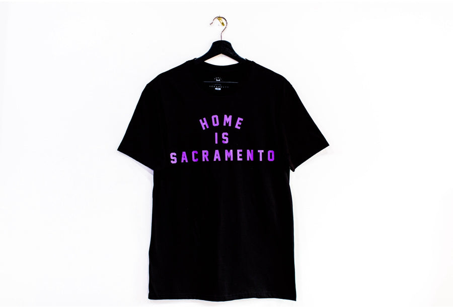 Home is Sacramento Tee Purple & Black