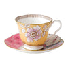 Butterfly Bloom Yellow Teacup & Saucer