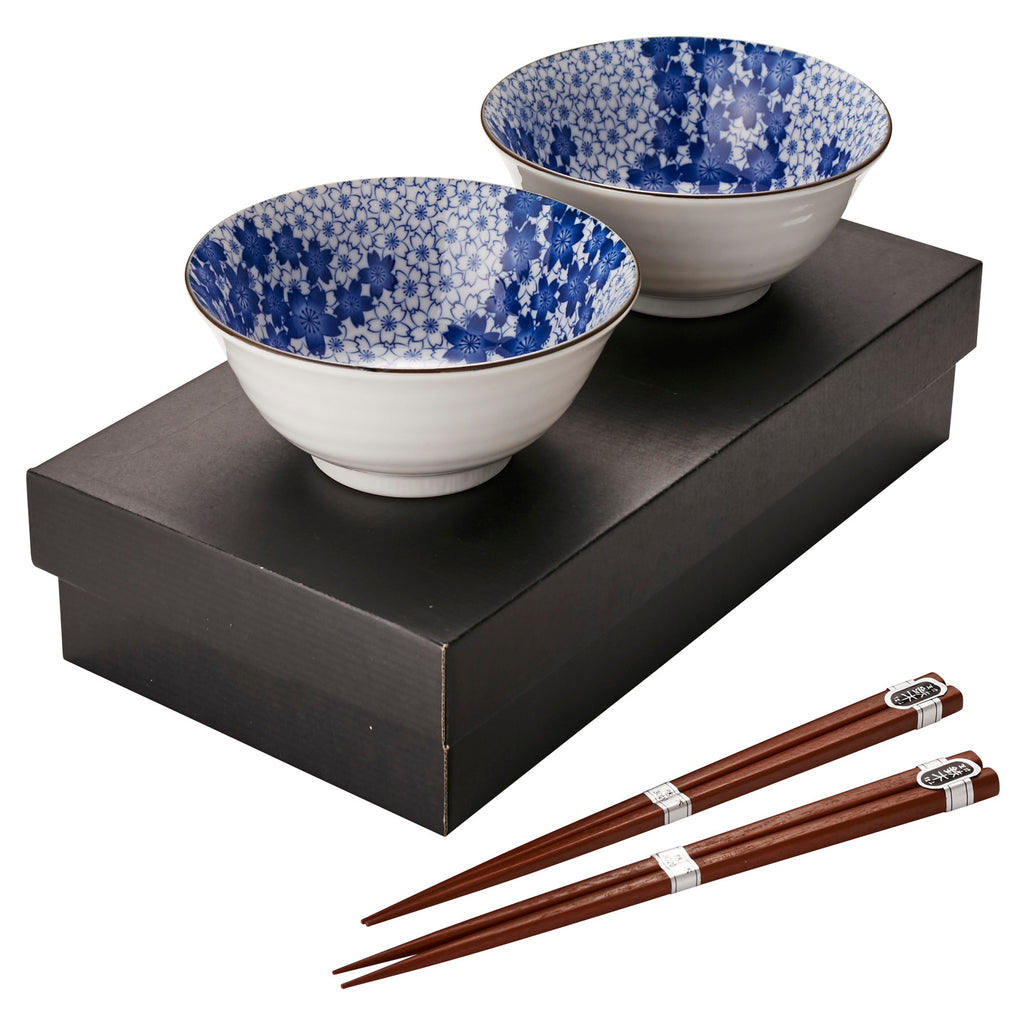 Kasumizakura Blue Bowl and Chopstick Set