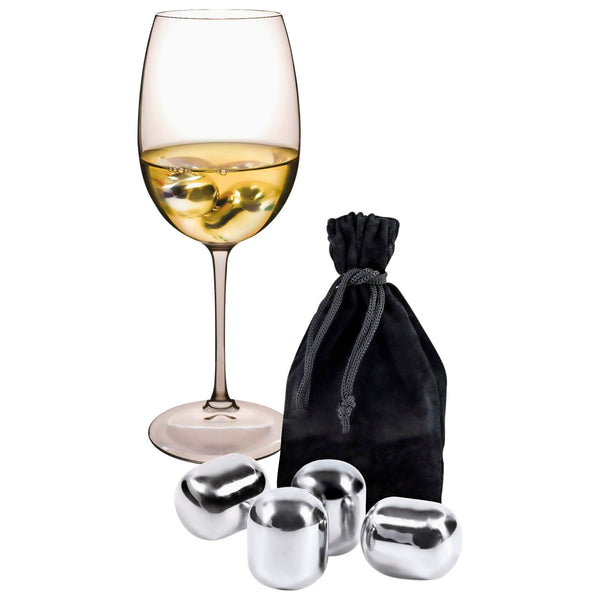 Set of 4 Crystal Wine Pearls with Bag