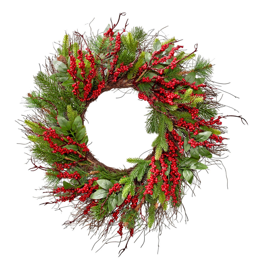 Red Berry & Leaf Wreath 58cm