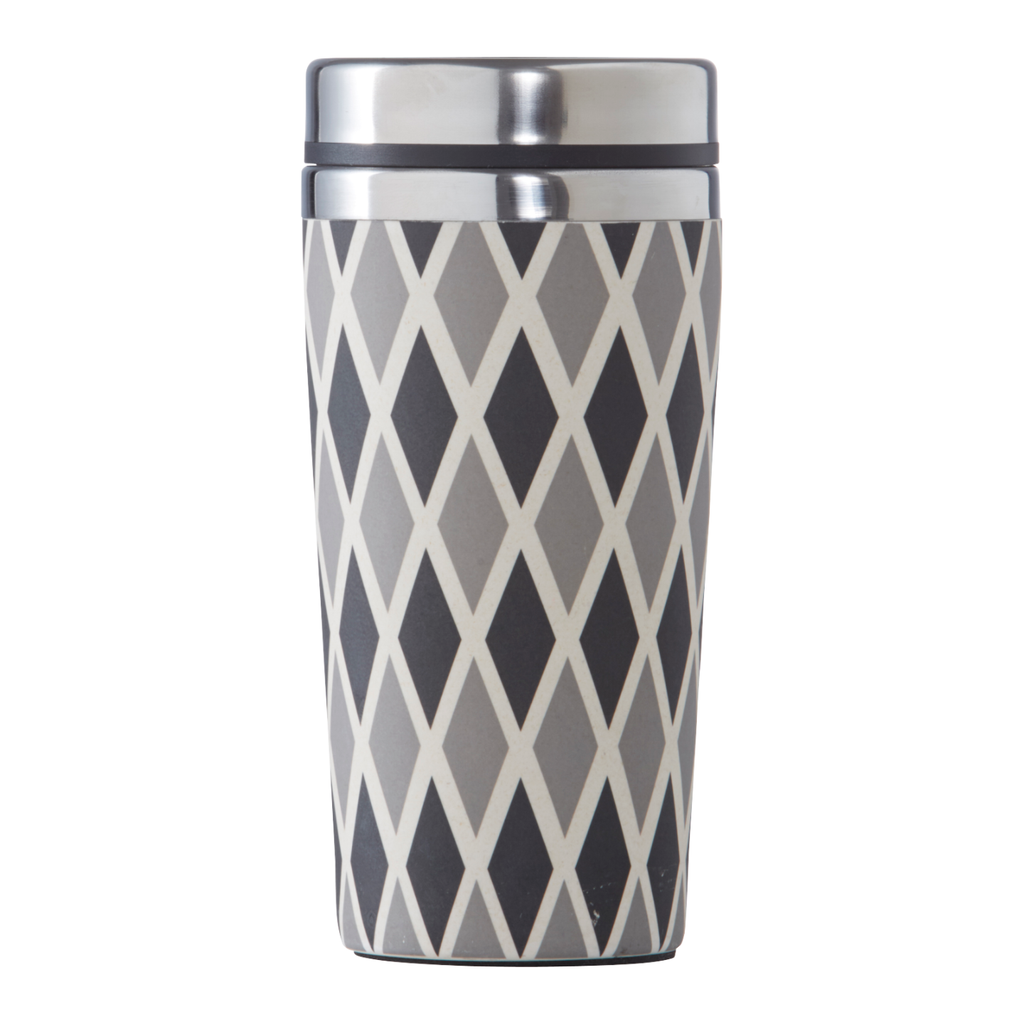 500ml Bamboo Thermal Grey Diamonds Travel Mug
