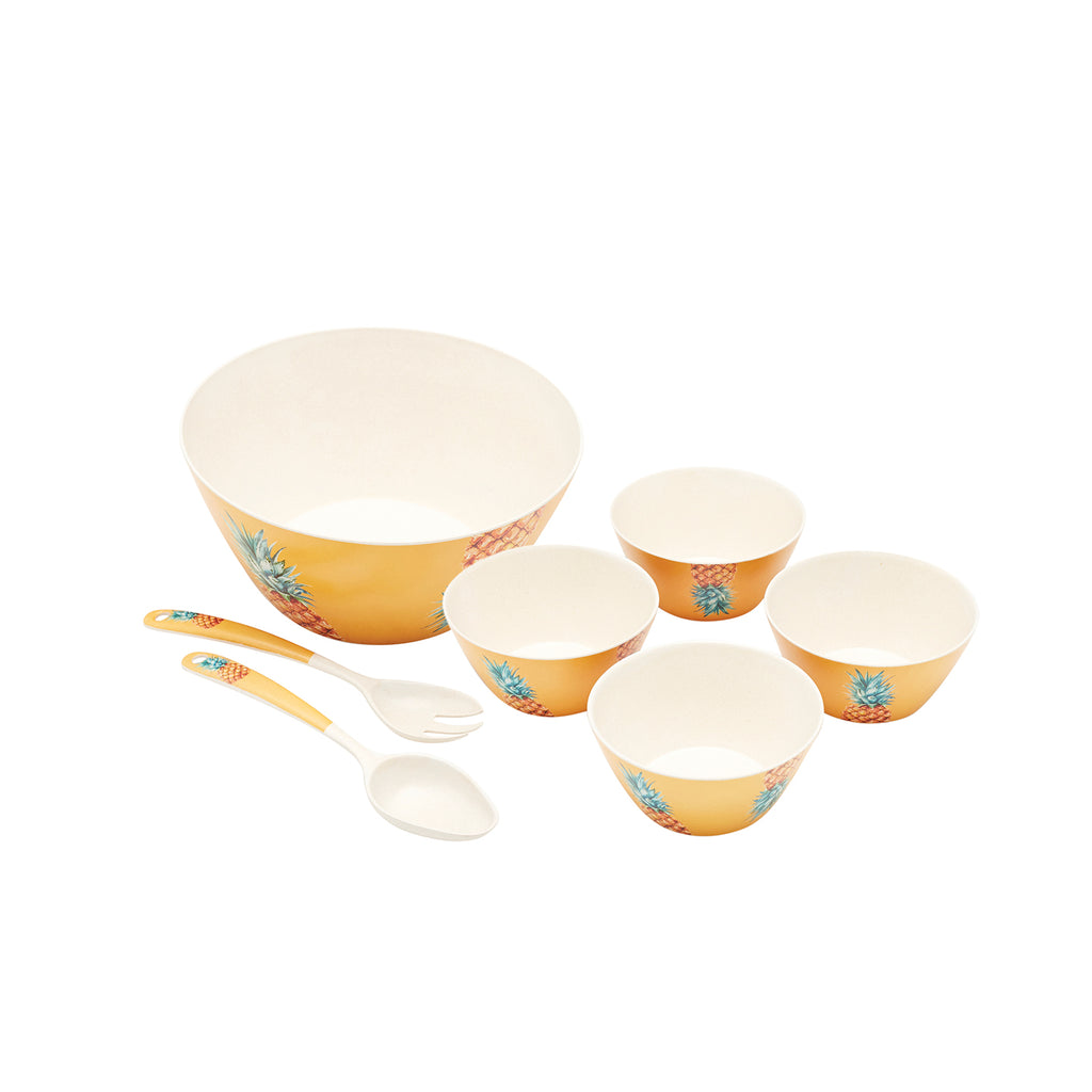 Bamboo Pineapple 7 Piece Salad Bowl Set