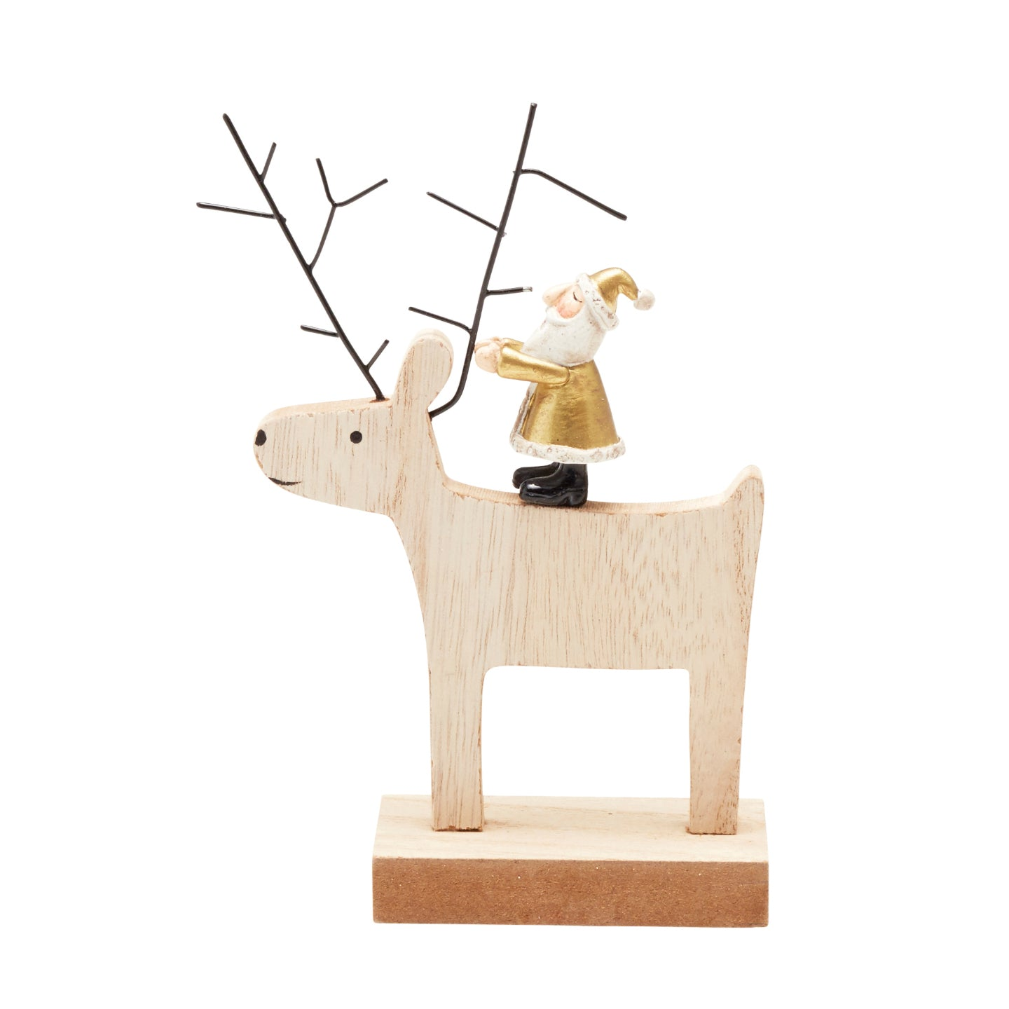 14cm Santa Riding Wooden Deer