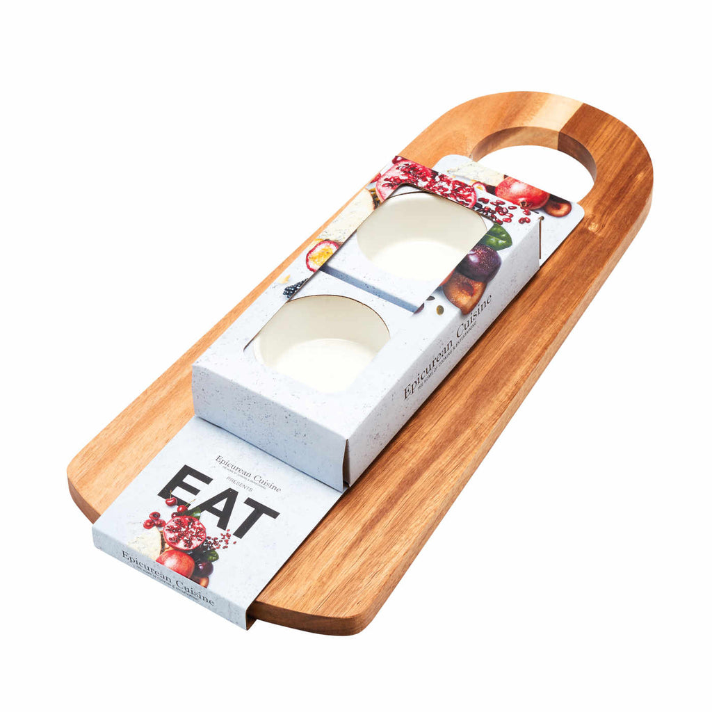EAT Serving Board and 2 Bowls Set