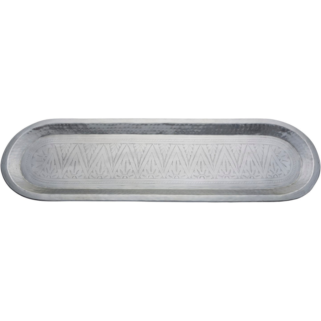 105cm x 32cm Silver Carved Oval Tray