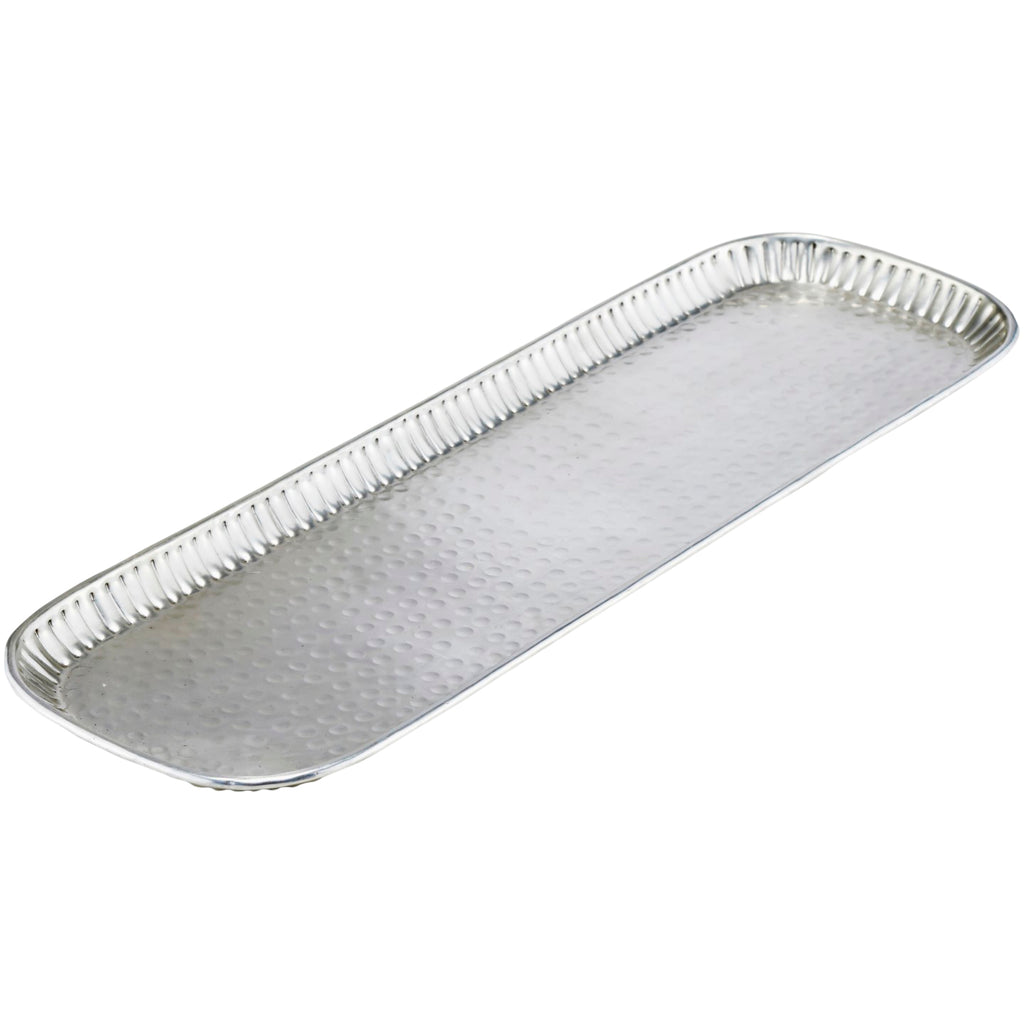 73cm x 23cm Carved Silver Rectangular Tray