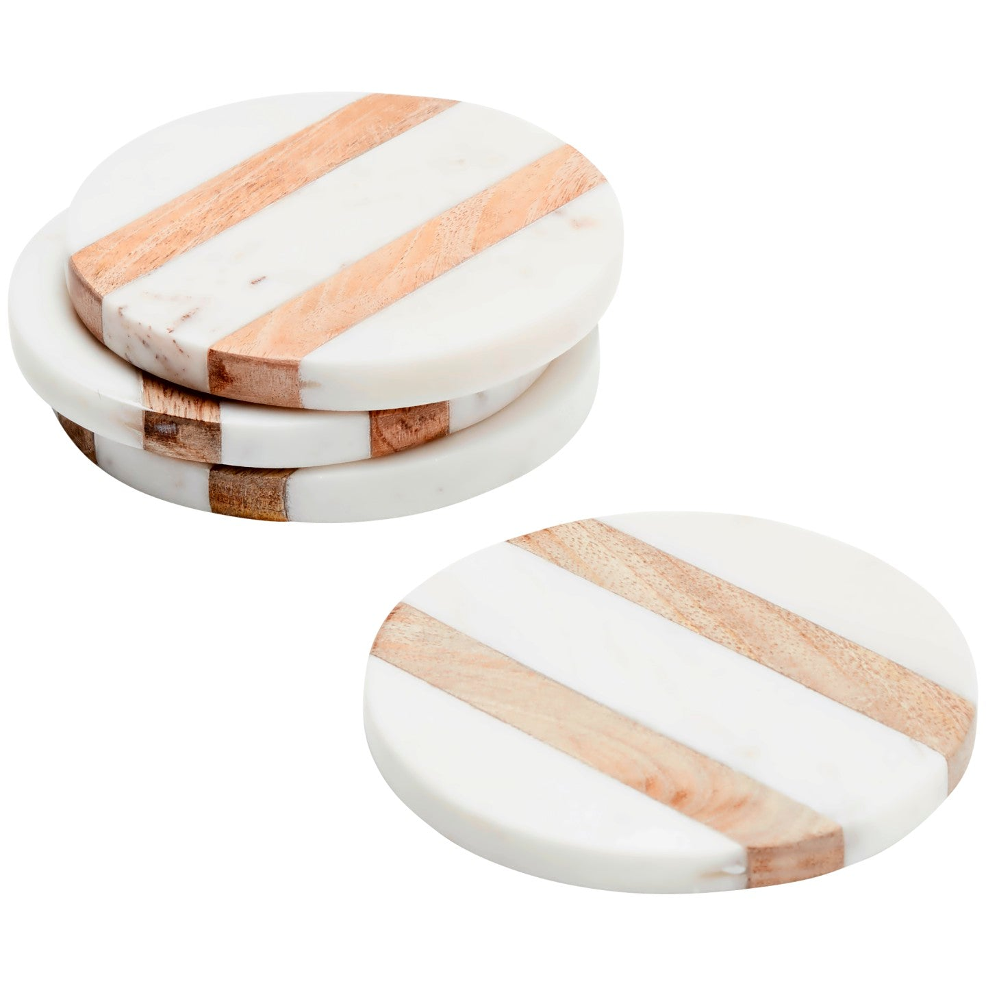 Set of 4 Marble & Wood Round Coasters