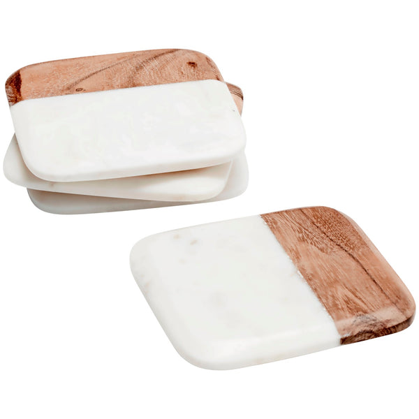 Set of 4 Marble & Wood Square Coasters