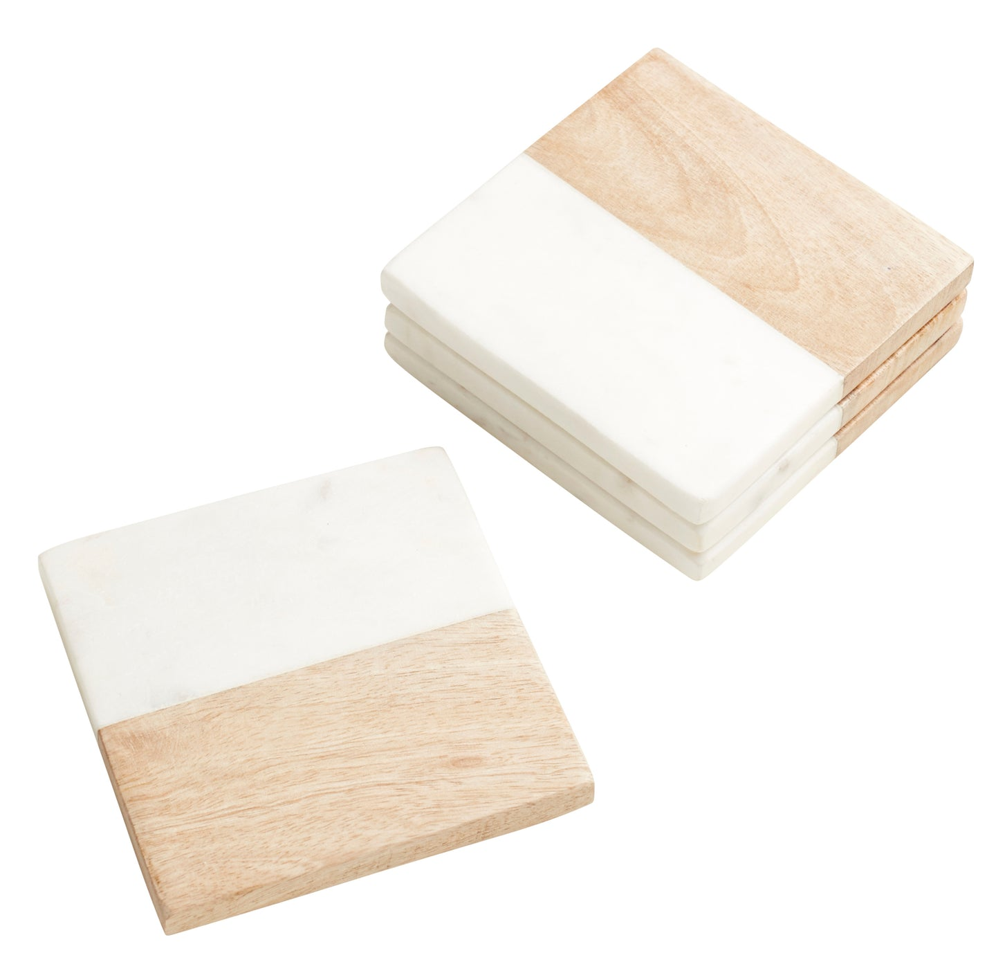 10cm Set of 4 Marble & Wood Square Coaster