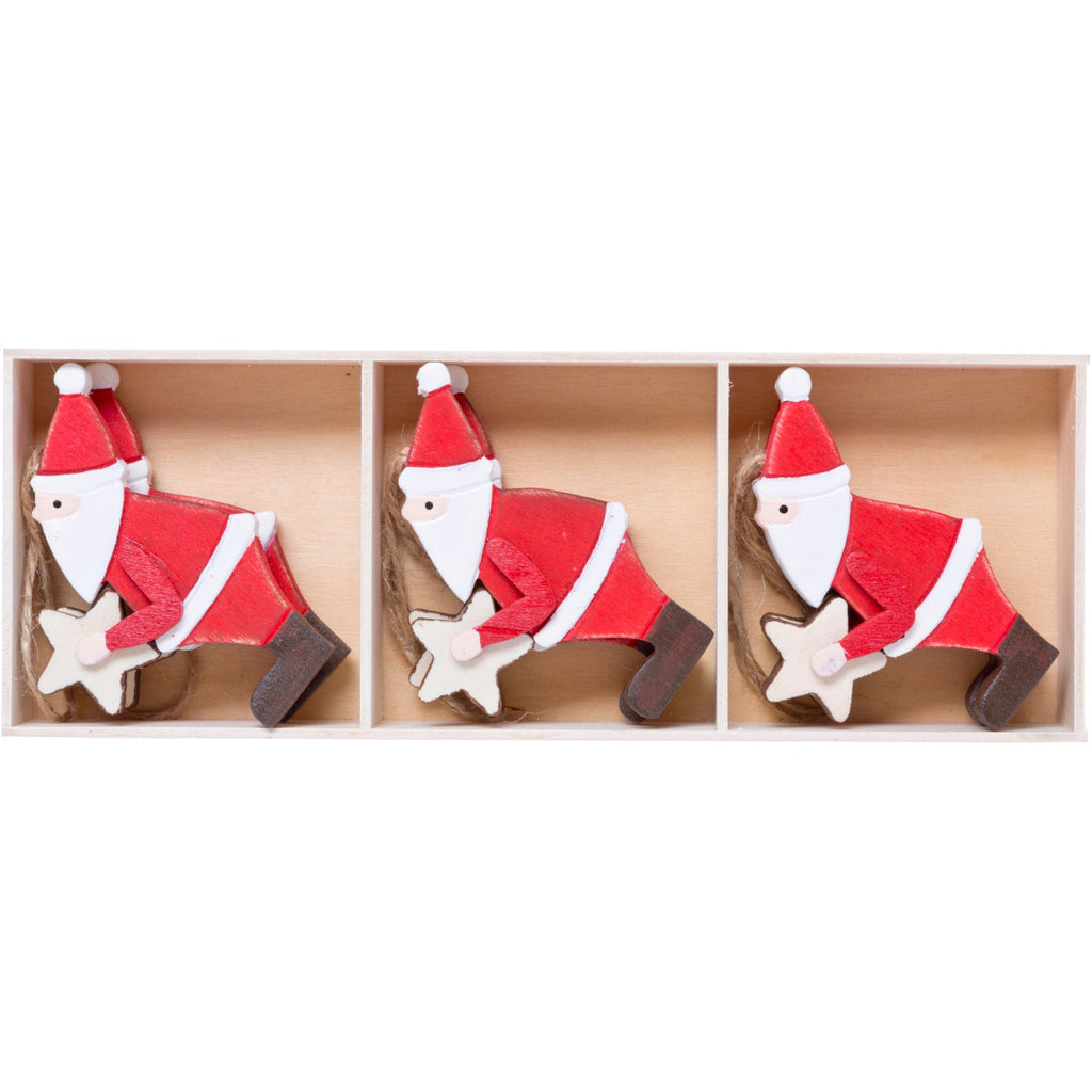 Set of 6 Wooden Santas