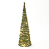 50cm Conical Green & Glitter Tree with LED