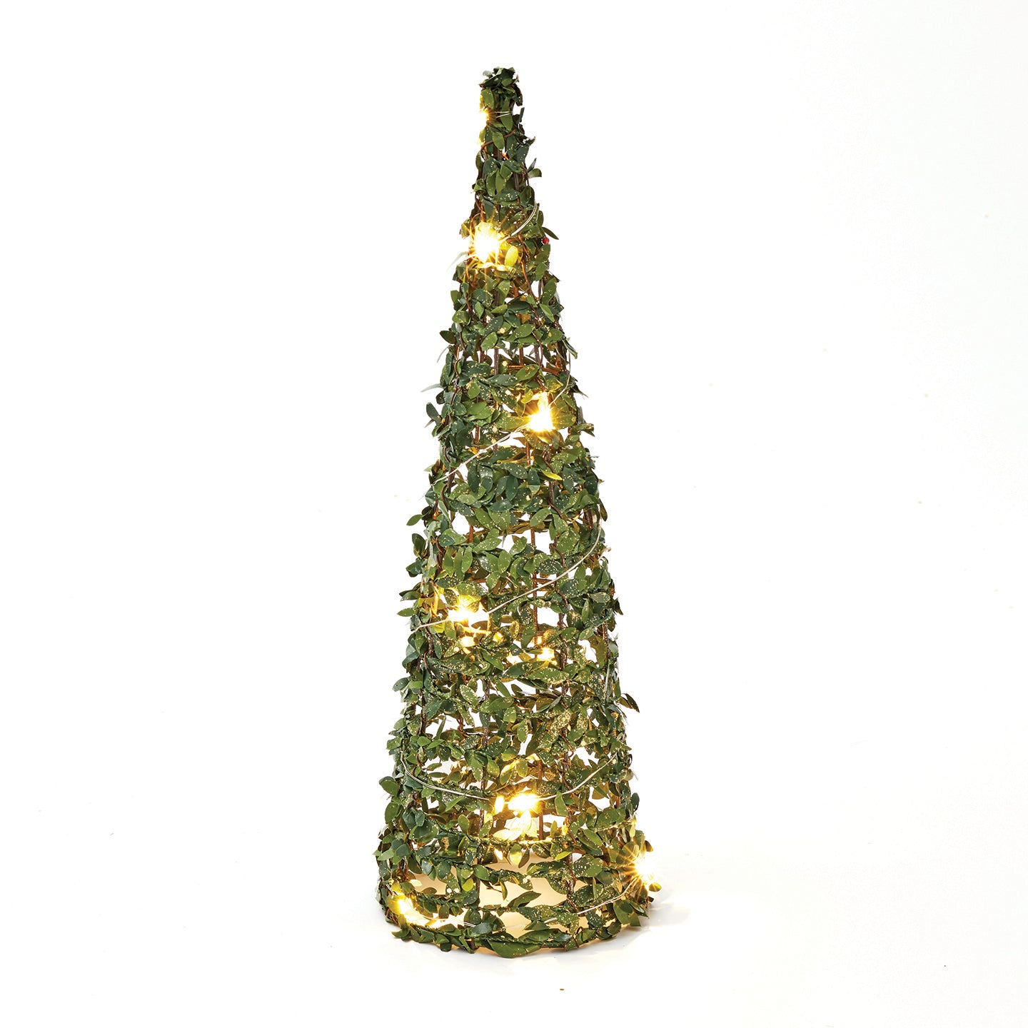 40cm Conical Green & Glitter Tree with LED