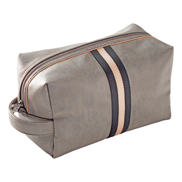 Grey Archie Stripe Steel Toiletry Bag