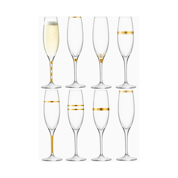 Deco Set of 8 Gold Champagne Flutes