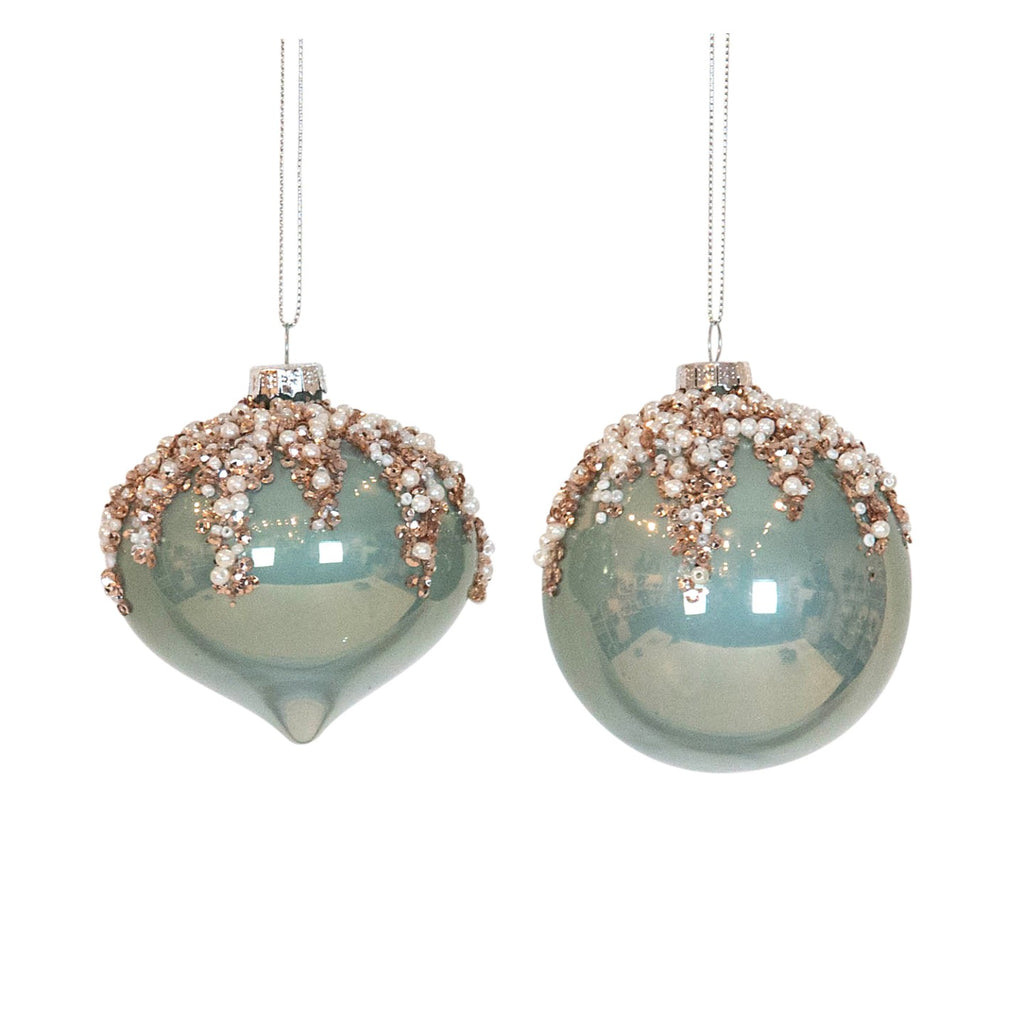 Beaded Mint & Champagne Bauble Assorted