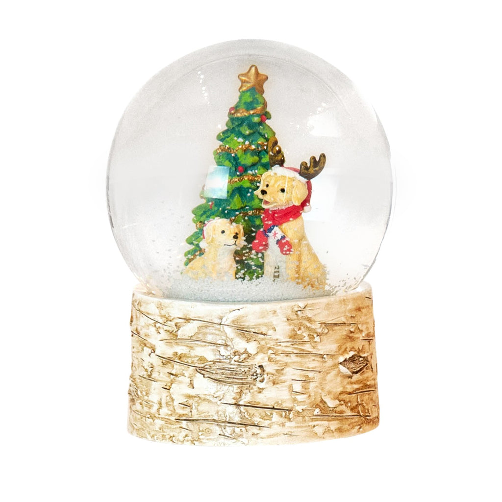 Musical Christmas Tree with Dogs Snow Globe