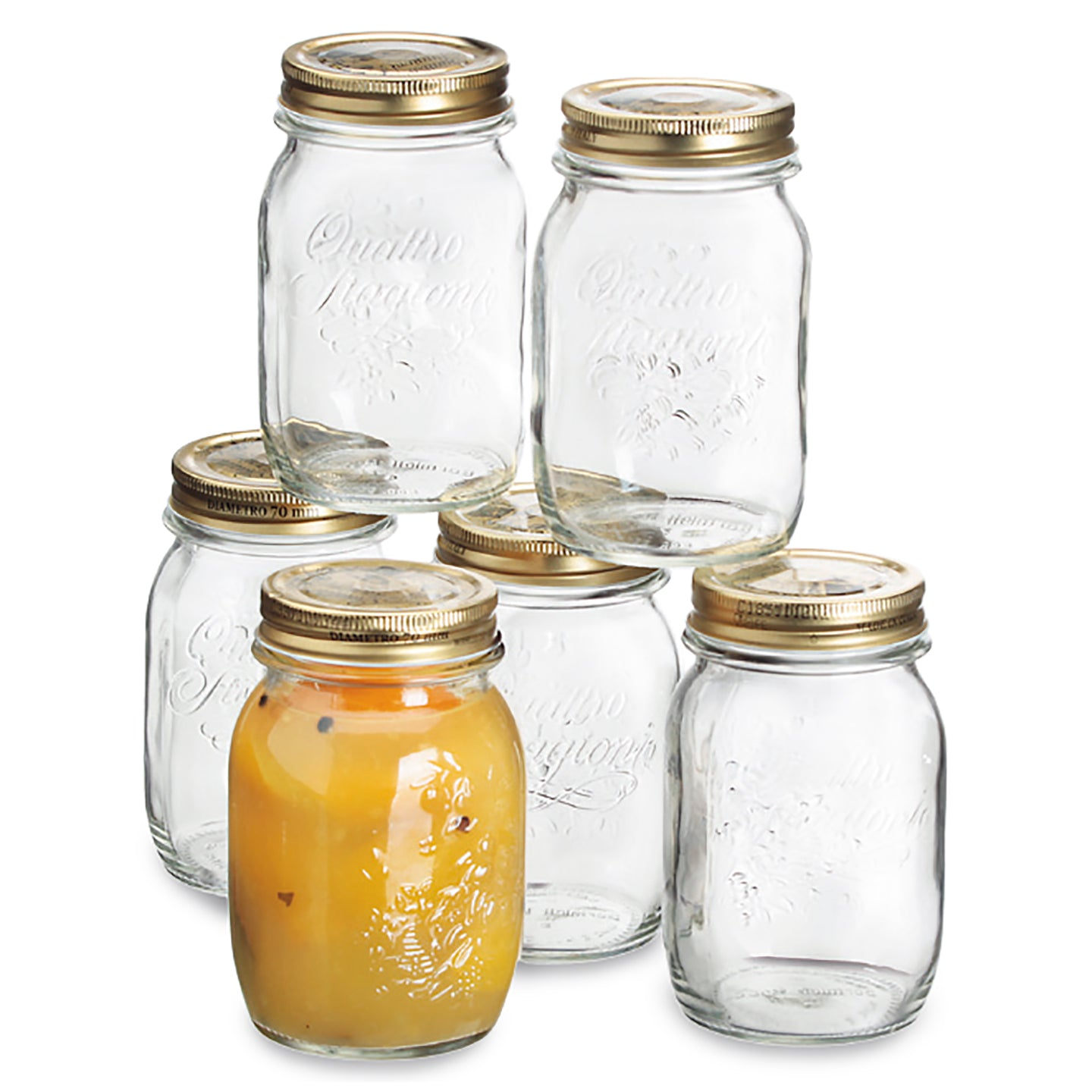 Quattro Set of 6  500ml Jars