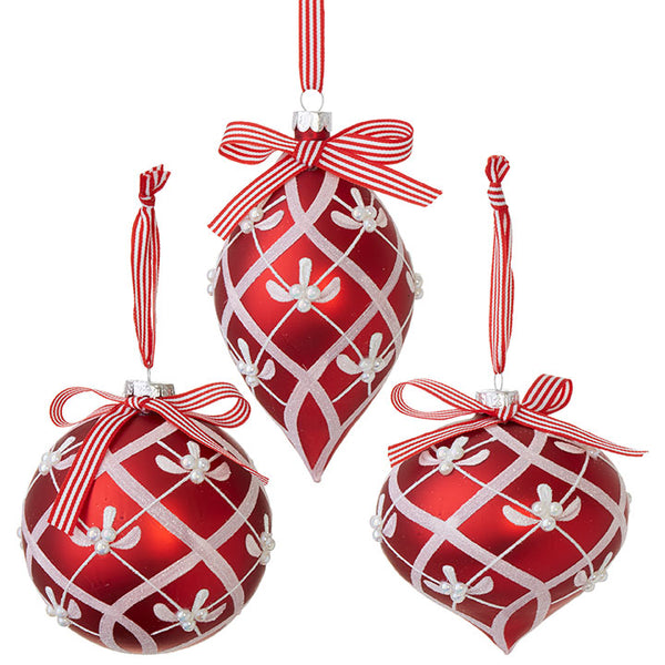Glitter Red & Silver 15cm Bauble Assorted