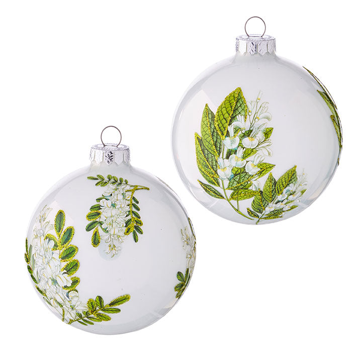 Botanical White 10cm Assorted Decoration