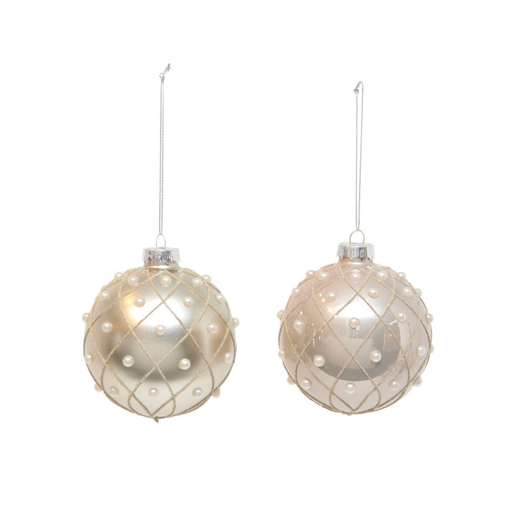 Champgne Pearl Drop Bauble Assorted
