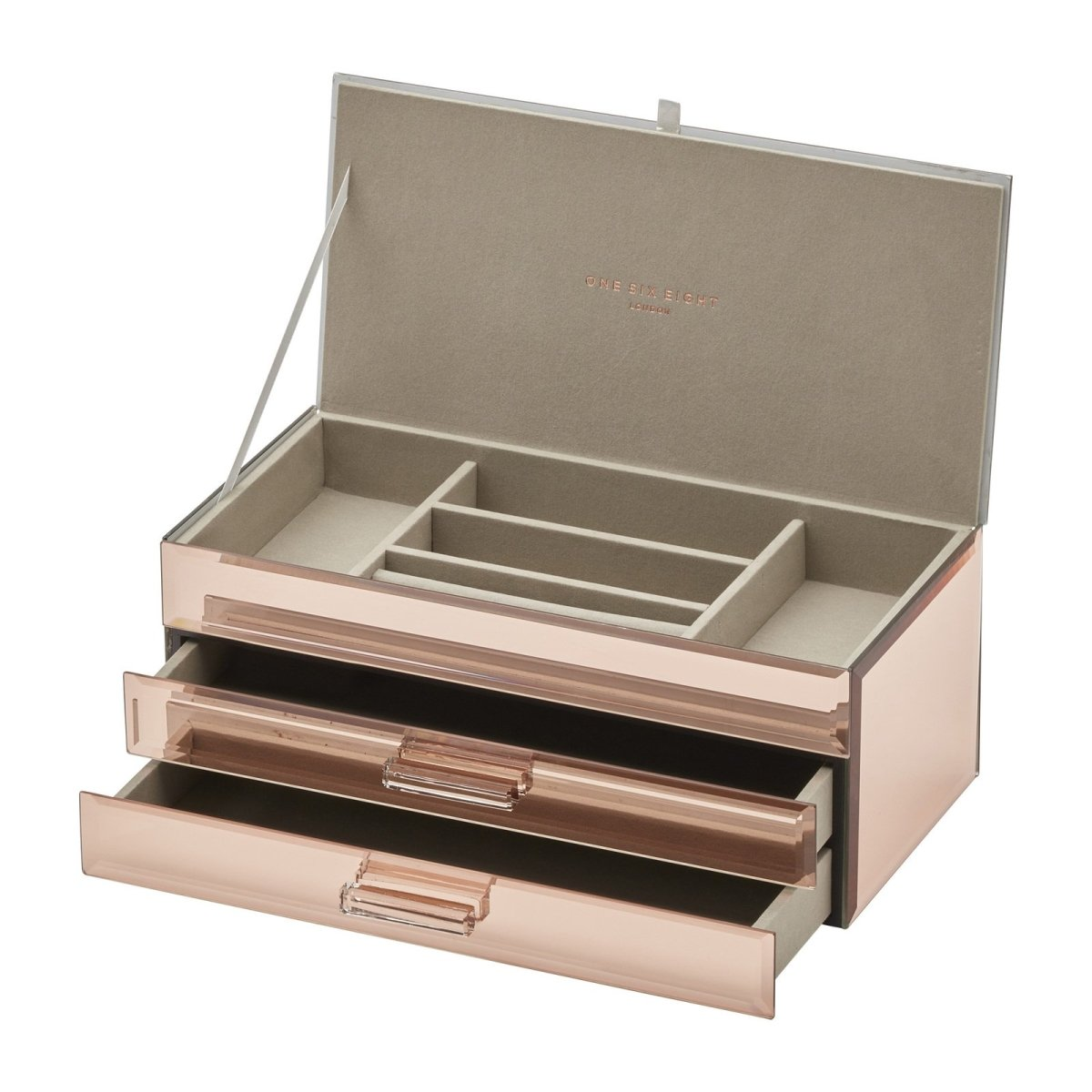 Gabriella Large Rose Gold Jewellery Box with Drawers - Minimax