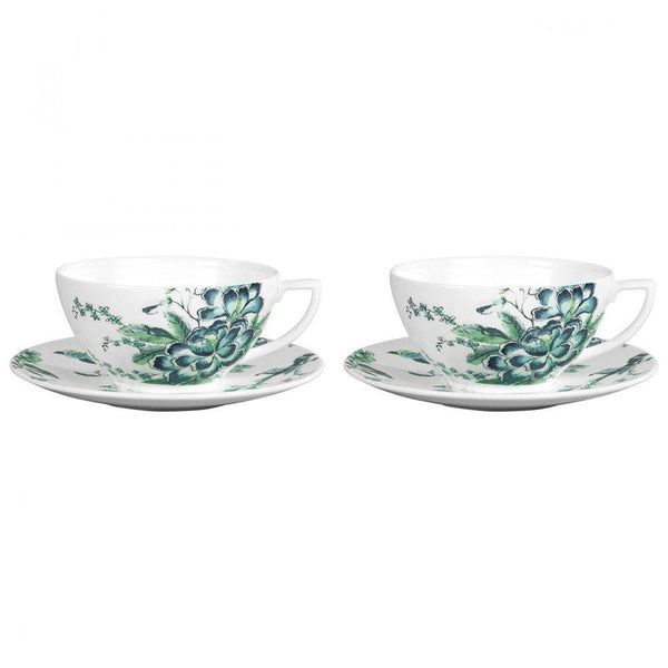 Jasper Conran Chinoiserie White Set of 2 Teacup & Saucer Boxed - Minimax