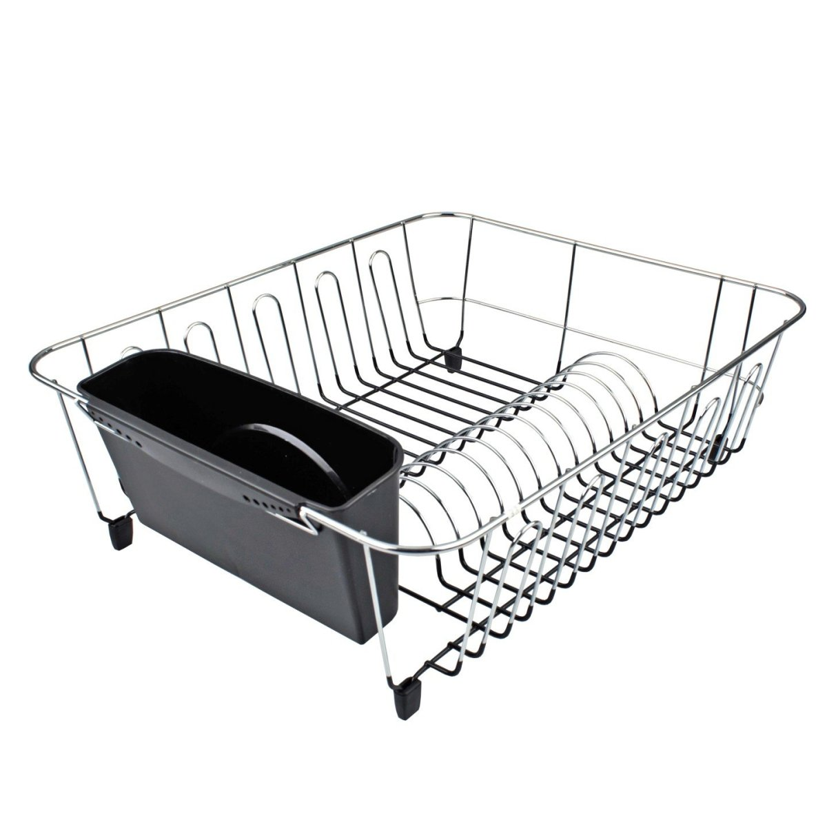 Large Black Dish Drainer with Caddy - Minimax