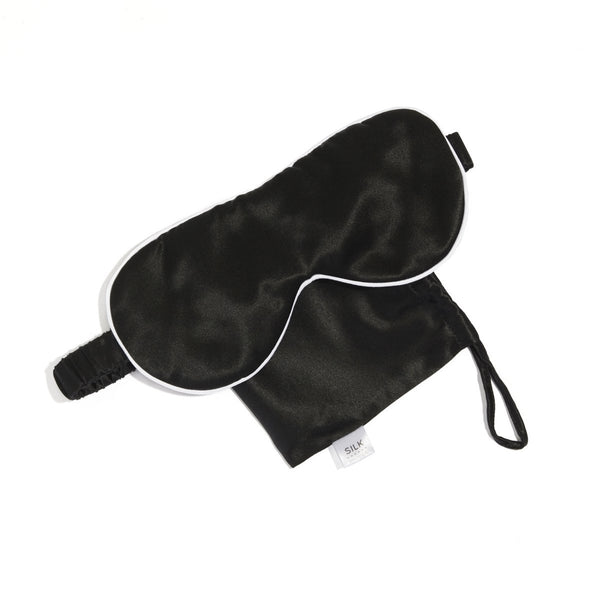 Silk Black With White Piping Travel Eye Mask - Minimax