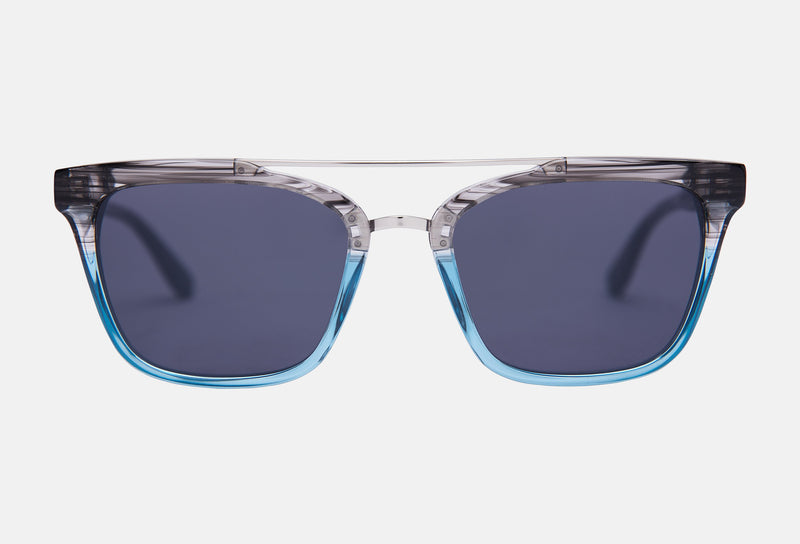 Revelry Sunglasses, Premium  Ocean Blue Acetate and Stainless Steel Metal Core