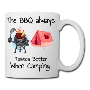 The BBQ tastes better when camping Mug, Coaster, Place Mat