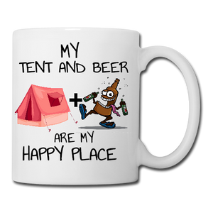 My Tent and Beer are my Happy Place Mug, Coaster, Place Mat