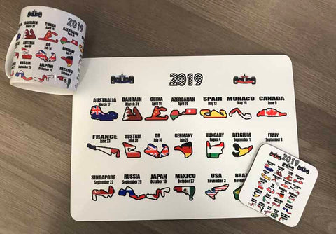 Motor Racing Mug, Coaster and Placemat set