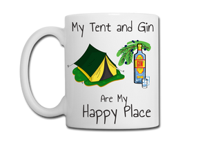 Camping and Gin are My Happy Place Mug, Coaster, Place Mat