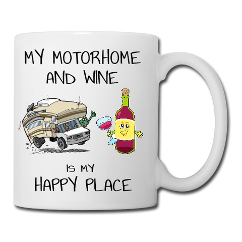 Motorhome and Wine are my Happy Place Mug, Coaster, Place Mat