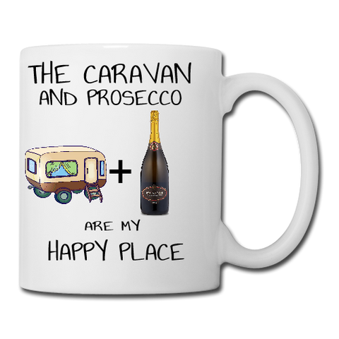 The Caravan and Prosecco are my happy place mug coaster placemat
