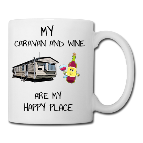 Static Caravan and Wine are my Happy Place Mug, Coaster, Place Mat