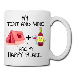 My Tent and Wine are my Happy Place Mug, Coaster, Place Mat