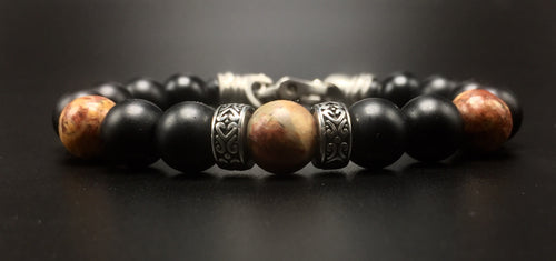 10mm matte black onyx beads, 10mm picture jasper beads ,  and stainless steal  rondelles.
