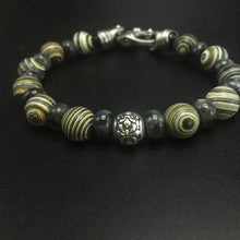 Load image into Gallery viewer, Yellow Malachite and gray Labradorite with a sterling silver center filagree bead and stainless steel clasp.
